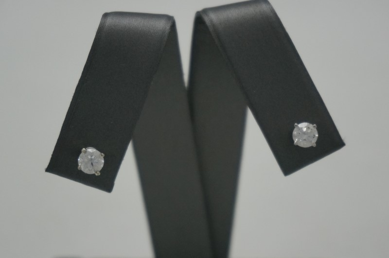 Gold-Diamond Earrings 2 Diamonds .77 Carat T.W. 14K White Gold 0.5dwt