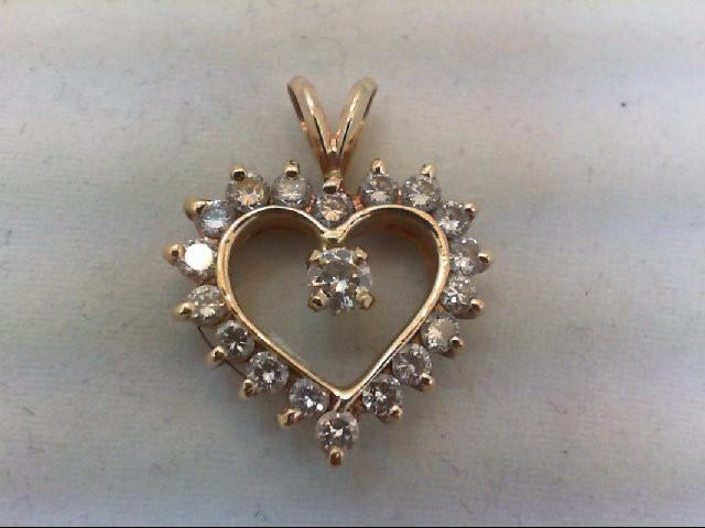 Gold-Multi-Diamond Pendant 19 Diamonds 1.28 Carat T.W. 14K Yellow Gold 3.1g