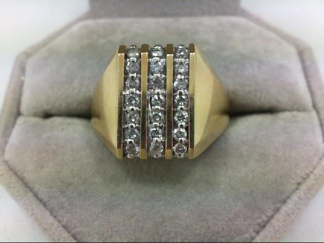 Gent's Diamond Cluster Ring 21 Diamonds 0.52 Carat T.W. 10K Yellow Gold 4.6g Siz