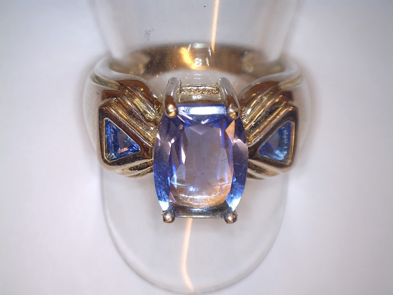 Blue Stone Lady's Silver & Stone Ring 925 Silver 4.94dwt Size:8.5