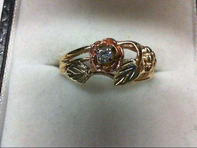 Lady's Diamond Wedding Set 0.1 CT. 10K Tri-color Gold 2.4g