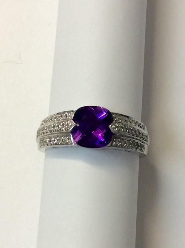 Synthetic Amethyst Lady's Stone & Diamond Ring 44 Diamonds .44 Carat T.W.