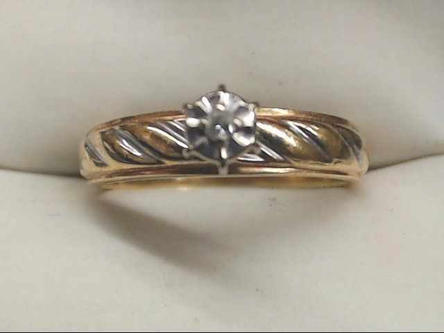 Lady's Diamond Engagement Ring .01 CT. 10K Yellow Gold 2.3g Size:6