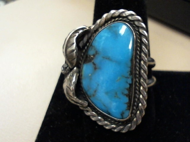 Blue Stone Lady's Silver & Stone Ring 925 Silver 8.9dwt Size:10.5