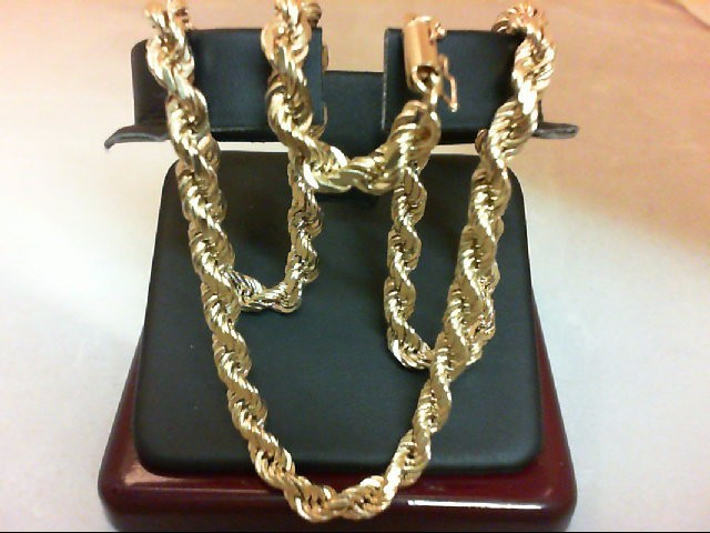 """18"""" Gold Rope Chain 14K Yellow Gold 46g"""