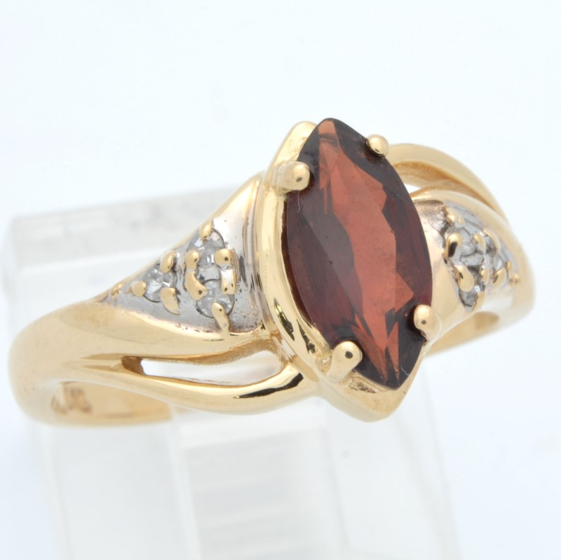 ESTATE GARNET RED DIAMOND RING SOLID 14K GOLD MARQUISE CUT SIZE 7
