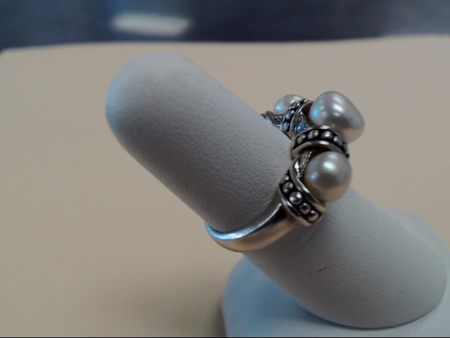 Pearl Lady's Silver & Stone Ring 925 Silver 7.1g