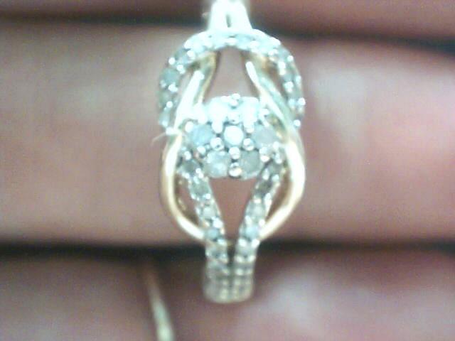 Lady's Silver-Diamond Ring 36 Diamonds .36 Carat T.W. 925 Silver 2.6dwt