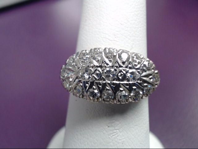 Lady's Diamond Cluster Ring 19 Diamonds 1.14 Carat T.W. 14K White Gold 4.6g