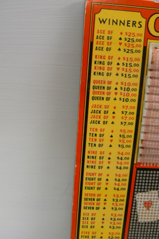 CASINO Collectible - $.25 CARD GAME PUNCH BOARD