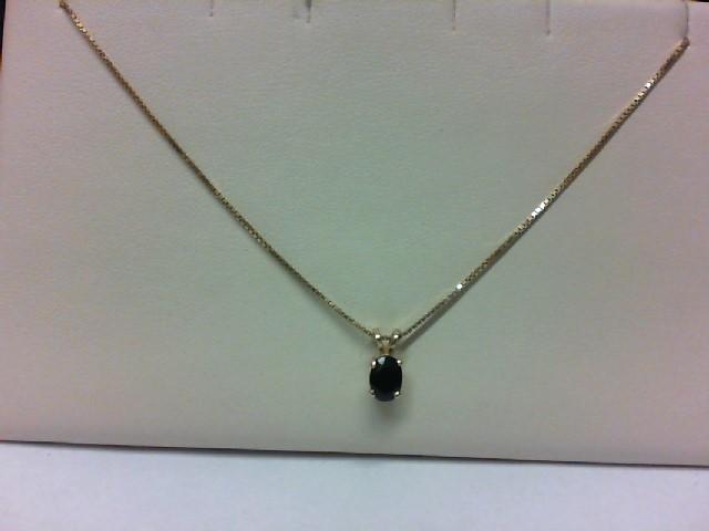 "16"" Black Stone Stone Necklace 14K Yellow Gold 2.8g"