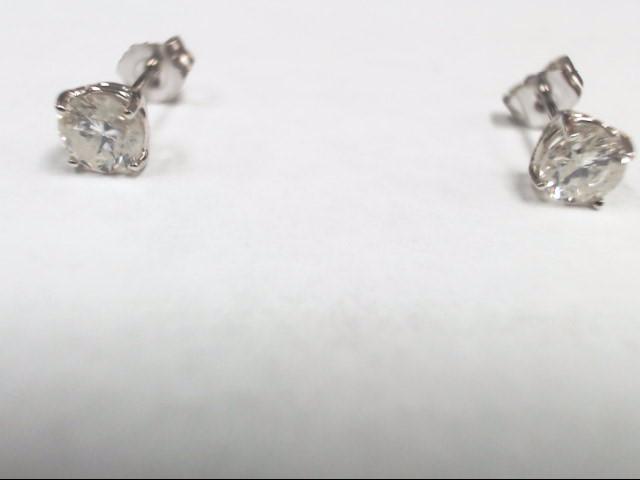 Gold-Diamond Earrings 2 Diamonds 1.00 Carat T.W. 14K White Gold 0.8g