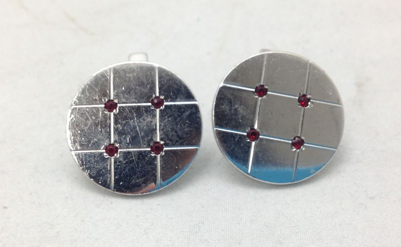 Vintage Sterling Silver Swank Round Cuff Links With Red Clear Stones