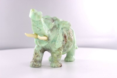 """Light Green - Brown Porus Carved African Elephant Sculpture, 6"""", Uplifted Trunk"""