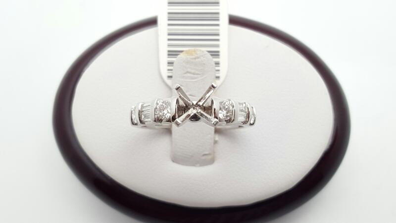 Lady's Diamond Engagement Ring 8 Diamonds .54 Carat T.W. 18K White Gold 5.6g
