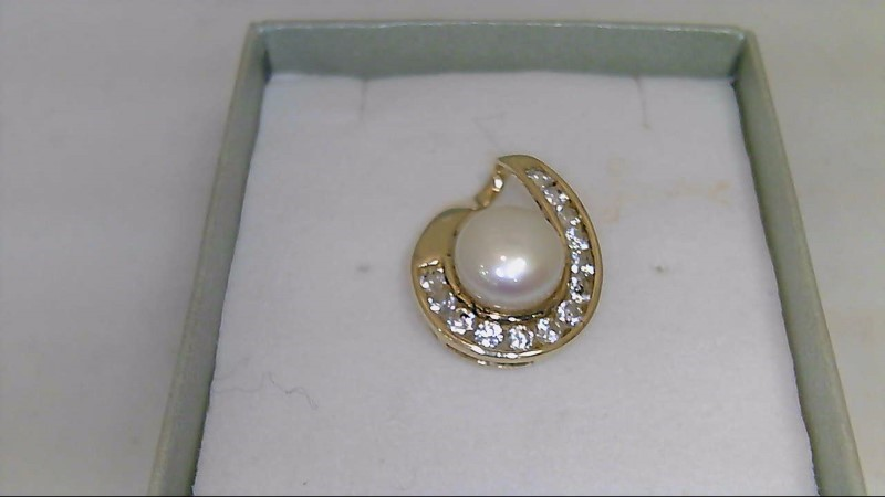 Synthetic Pearl Gold-Stone Pendant 10K Yellow Gold 2.1g