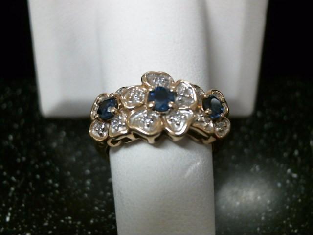 Synthetic Sapphire Lady's Stone & Diamond Ring 7 Diamonds .07 Carat T.W.