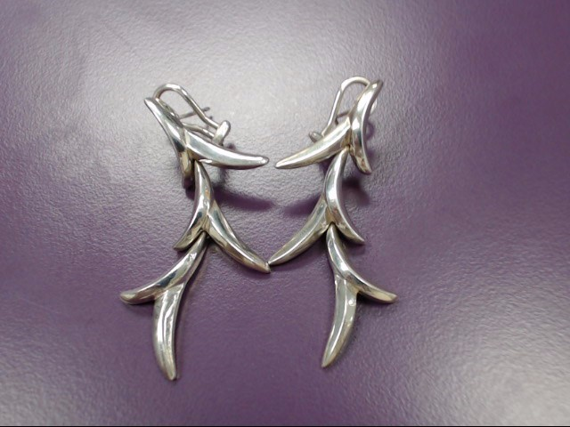 Silver Decorative Antler-Styled Dangle Earrings