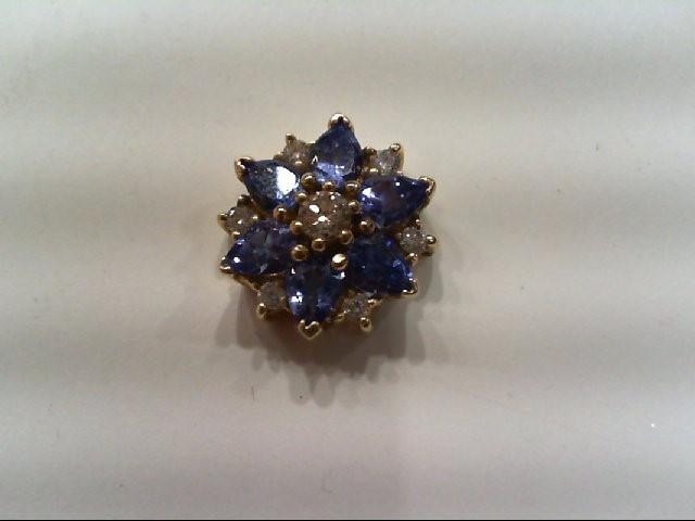 Tanzanite Gold-Diamond & Stone Pendant 7 Diamonds .11 Carat T.W.