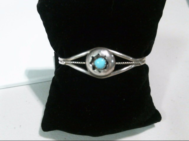 Silver Chalk Turquoise Bracelet
