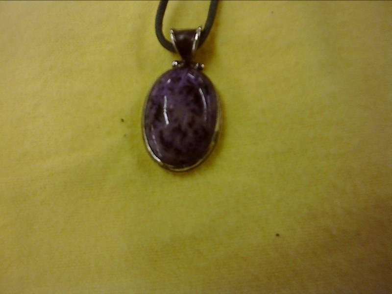 Charoite Oval Silver Pendant 925 Silver 5.4dwt