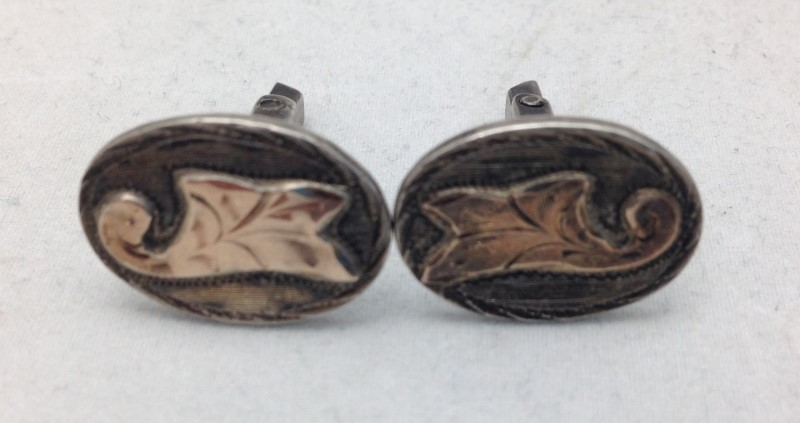 Sterling Silver With 10kt Accents Cuff Links Made In Mexico