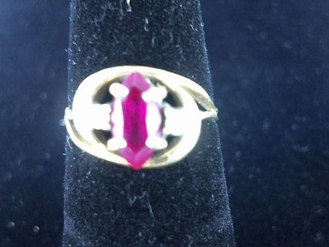 Synthetic Ruby Lady's Stone & Diamond Ring 2 Diamonds .06 Carat T.W.