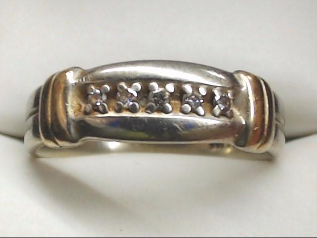 Gent's Gold-Diamond Wedding Band 5 Diamonds .10 Carat T.W. 14K White Gold 5.9g