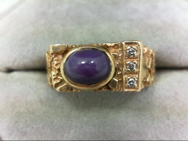 Synthetic Star Ruby Gent's Stone & Diamond Ring 3 Diamonds 0.03 Carat T.W. 14K Y