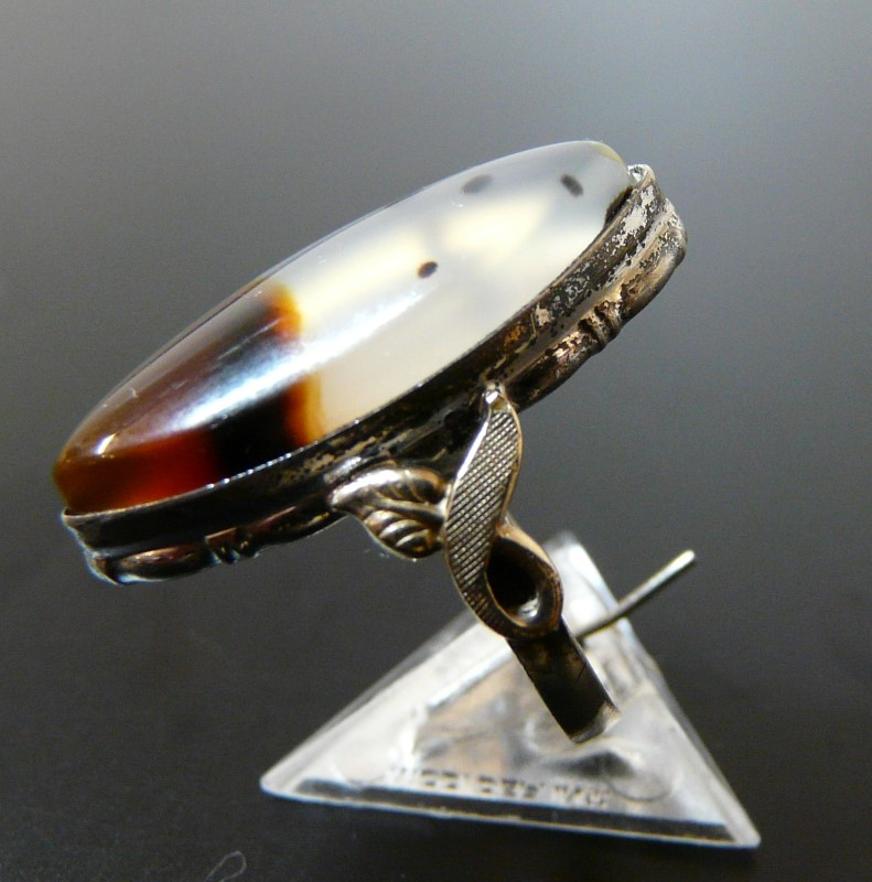 Synthetic Agate Lady's Silver & Stone Ring 925 Silver 2.1dwt Size:4.3