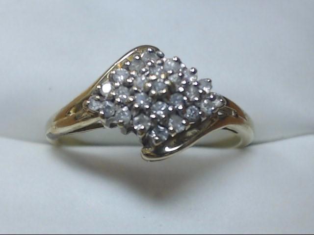 Lady's Diamond Cluster Ring 25 Diamonds .25 Carat T.W. 10K Yellow Gold 2g