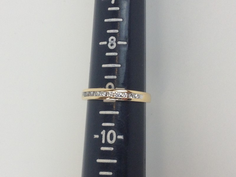 Channel Set Band 13 Diamonds .39 Carat T.W. 14K Yellow Gold 3.13g