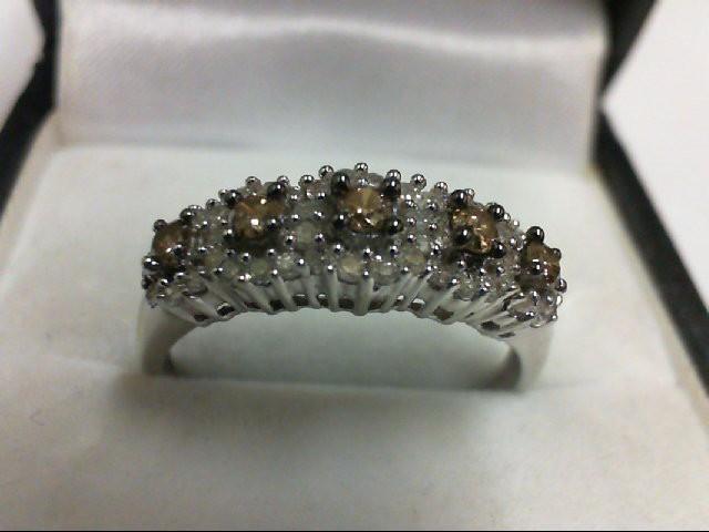 Lady's Diamond Cluster Ring 50 Diamonds .70 Carat T.W. 10K White Gold 2.6g