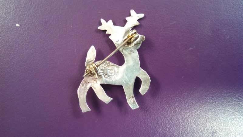 Silver Reindeer Brooch 925 Silver 2.5g