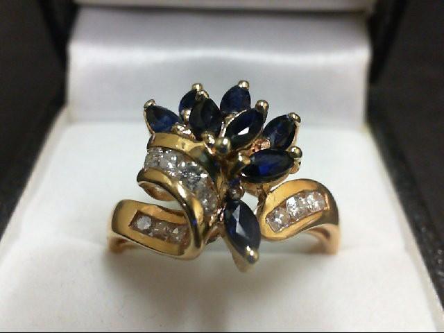 Sapphire Lady's Stone & Diamond Ring 10 Diamonds 0.4 Carat T.W. 14K Yellow Gold