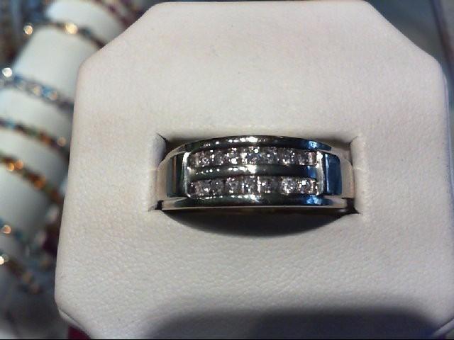 Gent's Gold-Diamond Wedding Band 14 Diamonds .25Carat T.W. 10K White Gold 4.3g