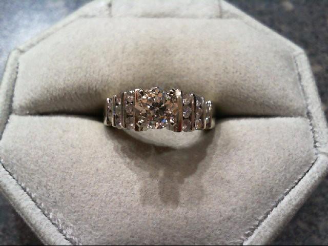 Lady's Diamond Engagement Ring 17 Diamonds 1.19 Carat T.W. 14K White Gold 5.17g