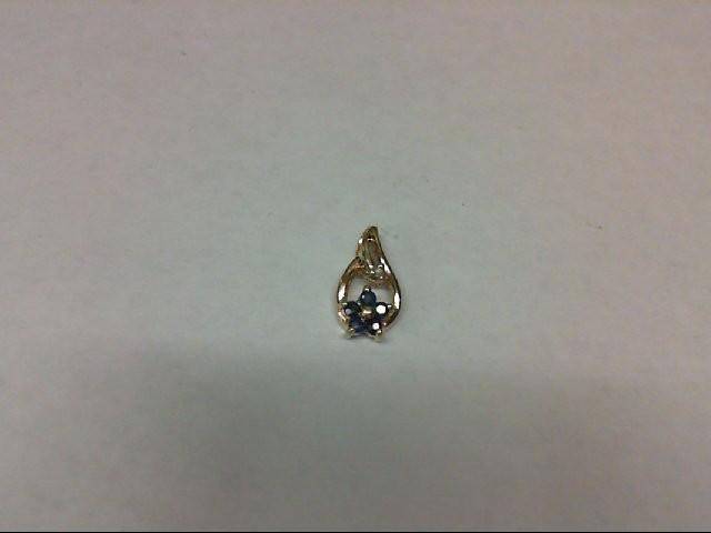 Sapphire Gold-Diamond & Stone Pendant 0.01 CT. 10K Yellow Gold 0.5g