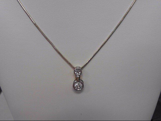 "18"" Diamond Necklace 2 Diamonds .68 Carat T.W. 14K Yellow Gold 5.4g"
