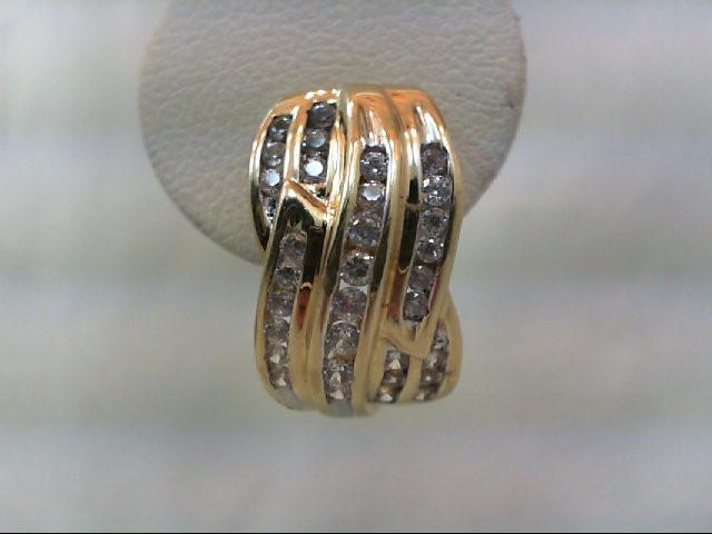Gold-Diamond Earrings 60 Diamonds 1.20 Carat T.W. 10K Yellow Gold 6.3g