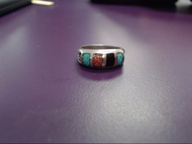 Synthetic Teal Stone Lady's Silver & Stone Ring 925 Silver 4g