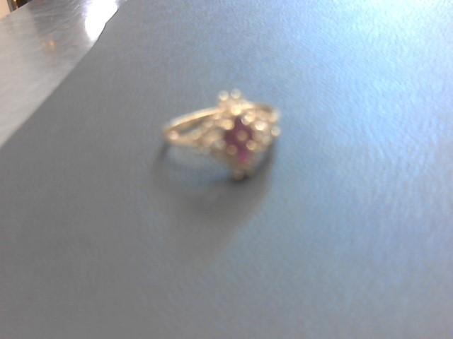 Ruby Lady's Stone & Diamond Ring 20 Diamonds .40 Carat T.W. 14K Yellow Gold