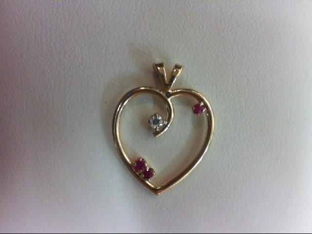 Ruby Gold-Diamond & Stone Pendant 0.03 CT. 14K Yellow Gold 1.2g