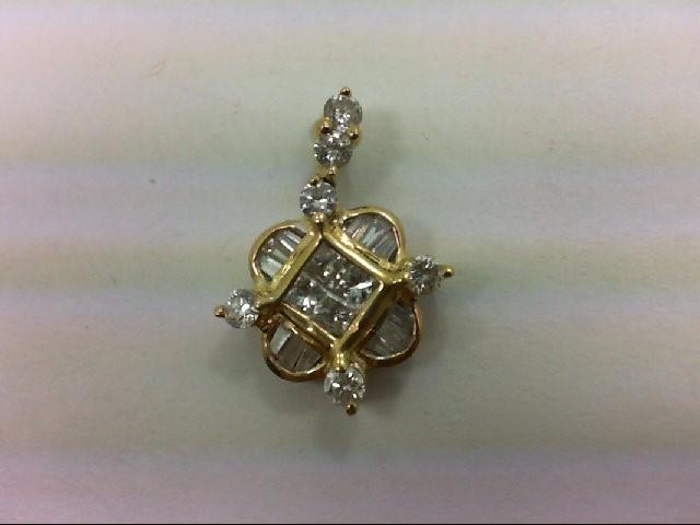 Gold-Multi-Diamond Pendant 22 Diamonds 0.72 Carat T.W. 18K Yellow Gold 2.1g