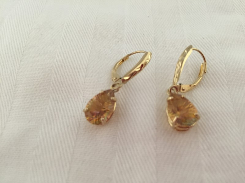 Synthetic Citrine Gold-Stone Earrings 14K Yellow Gold 2.3g