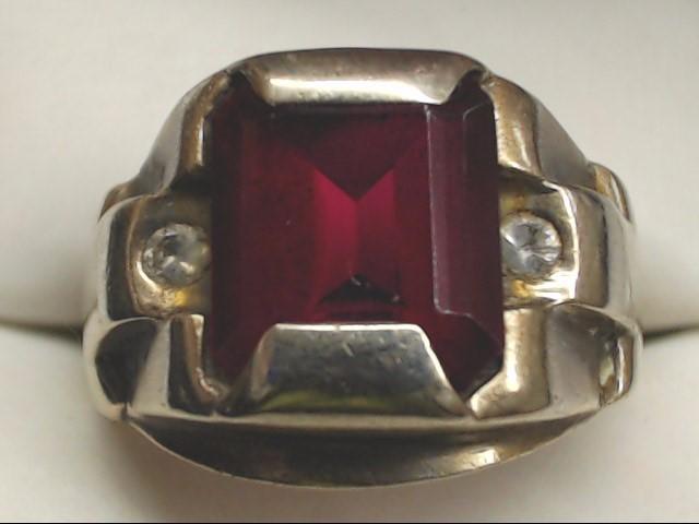 Red Stone Gent's Stone & Diamond Ring 2 Diamonds .14 Carat T.W. 10K White Gold