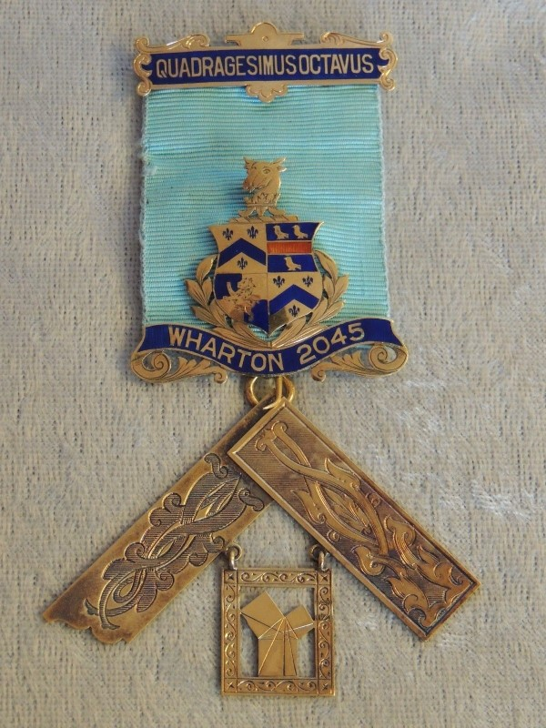 1932 Past Master Freemason Jewel UK 18k Gold Masonic Wharton Lodge 2045 Medal AU