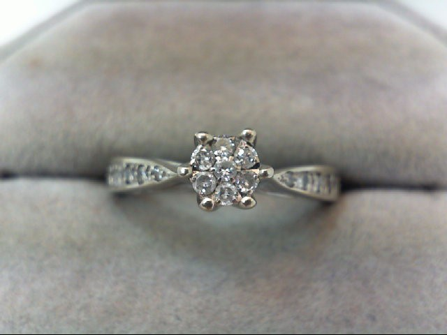 Lady's Diamond Engagement Ring 15 Diamonds .29 Carat T.W. 14K White Gold 2.6g