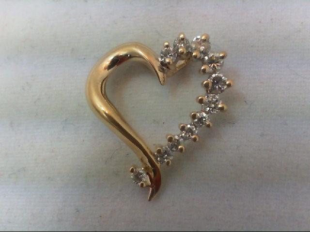 Gold-Multi-Diamond Pendant 11 Diamonds .25 Carat T.W. 14K Yellow Gold 1.3g