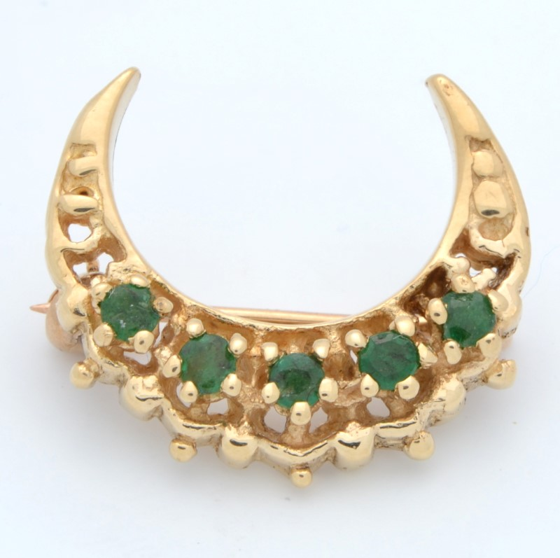 ESTATE EMERALD GREEN MOON BROOCH PIN SOLID 14K YELLOW GOLD NATURE